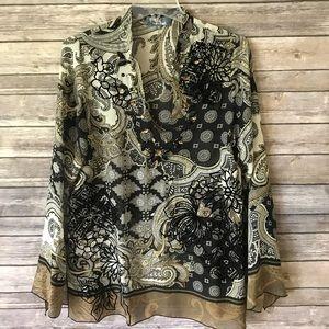 Hale Bob | Embroidered Long Sleeve Silk Tunic